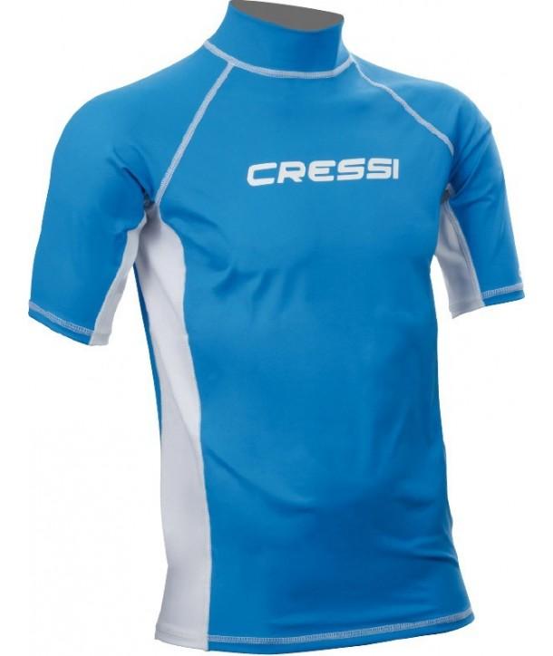 Lycra para protección de neopreno para surf o frío de Cressi azul y blanca. Rash guard
