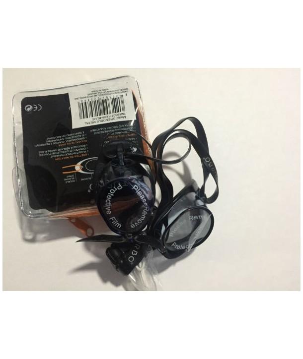 Gafas suecas turbo con silicona en el borde negro, azul