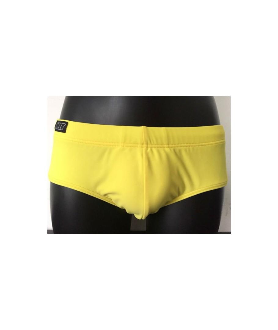 construcción racional calidad y cantidad asegurada comprar baratas Bañador hombre NIT slip básico retro amarillo 1 capa