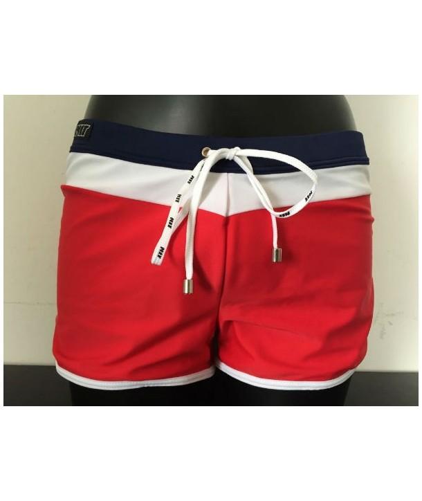 Bañador boxer NIT hombre Básico rojo detalles marino y blanco