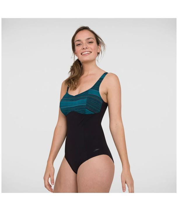Bañador de natación SPEEDO SPDSCU CONTOURLUSTRE PT 1P Black/Green